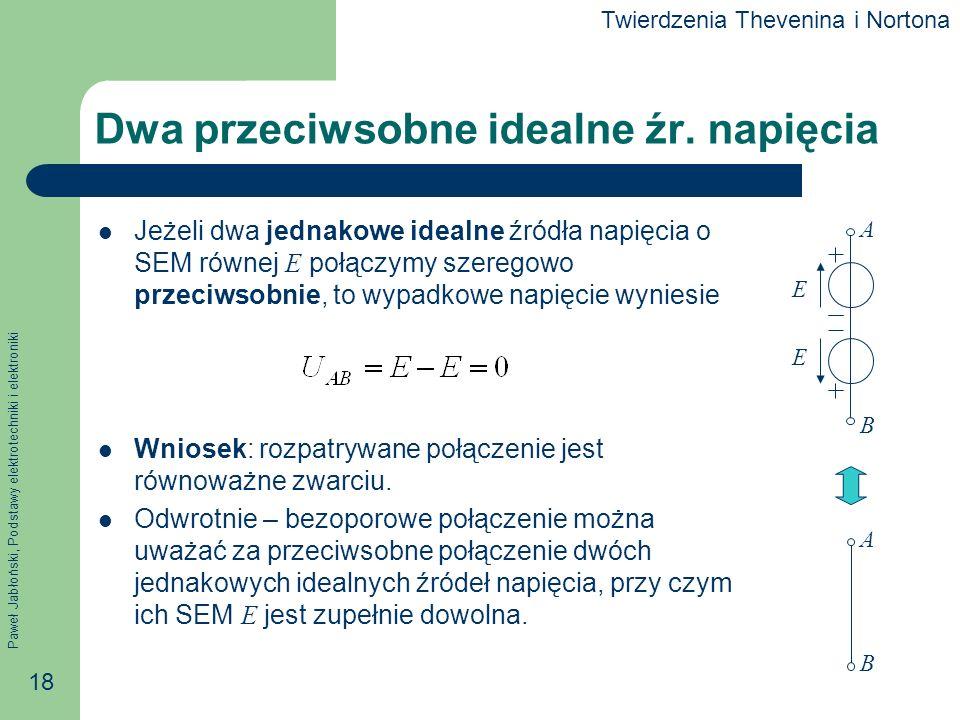 Paweł Jabłoński, Podstawy elektrotechniki i elektroniki 18 Dwa przeciwsobne idealne źr. napięcia Jeżeli dwa jednakowe idealne źródła napięcia o SEM ró