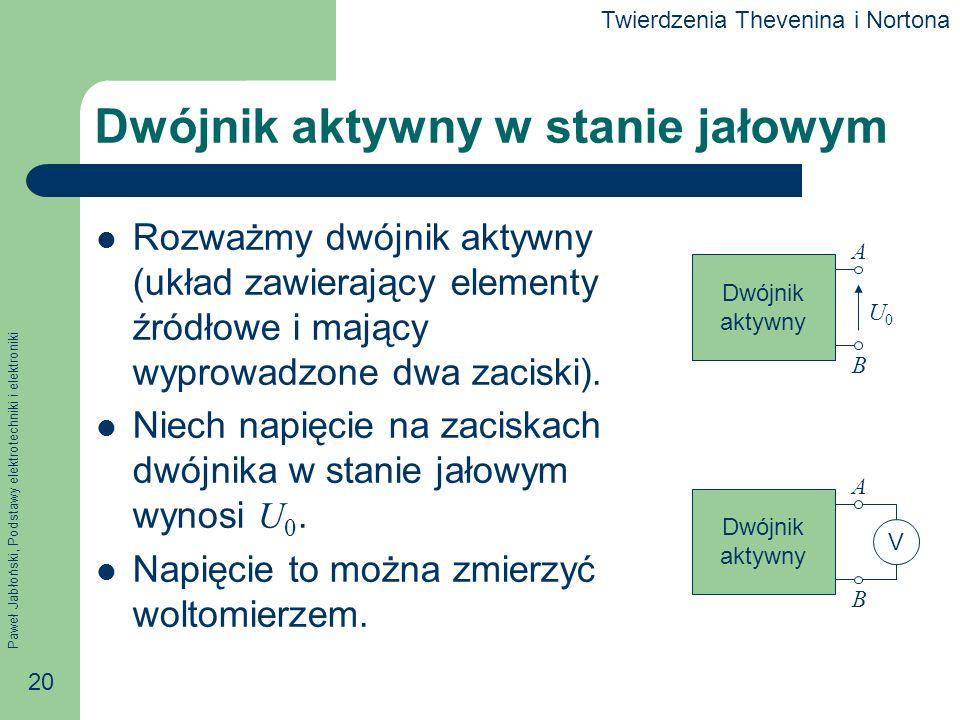Paweł Jabłoński, Podstawy elektrotechniki i elektroniki 20 Dwójnik aktywny w stanie jałowym Rozważmy dwójnik aktywny (układ zawierający elementy źródł