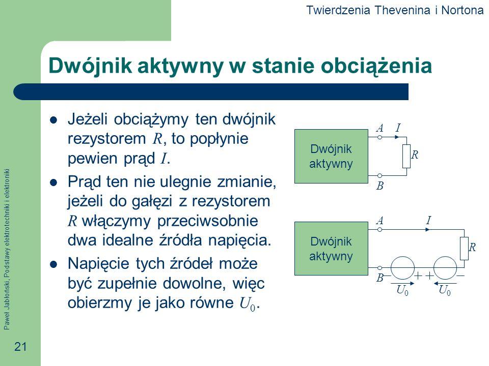 Paweł Jabłoński, Podstawy elektrotechniki i elektroniki 21 Dwójnik aktywny w stanie obciążenia Jeżeli obciążymy ten dwójnik rezystorem R, to popłynie