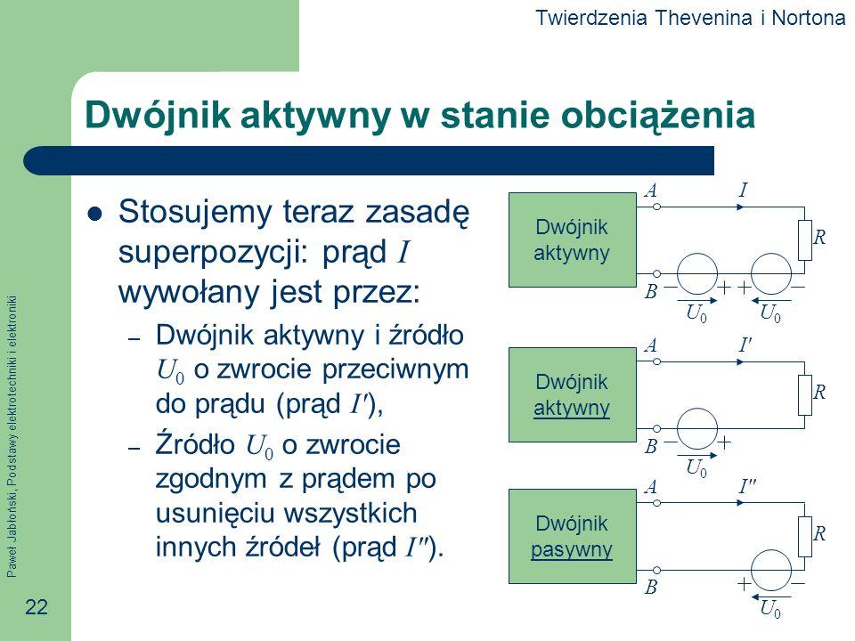 Paweł Jabłoński, Podstawy elektrotechniki i elektroniki 22 Dwójnik aktywny w stanie obciążenia Stosujemy teraz zasadę superpozycji: prąd I wywołany je