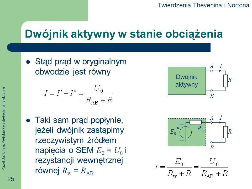 Paweł Jabłoński, Podstawy elektrotechniki i elektroniki 25 Dwójnik aktywny w stanie obciążenia Stąd prąd w oryginalnym obwodzie jest równy Taki sam pr