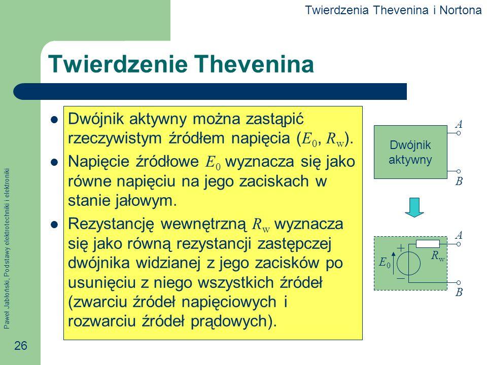 Paweł Jabłoński, Podstawy elektrotechniki i elektroniki 26 Twierdzenie Thevenina Dwójnik aktywny można zastąpić rzeczywistym źródłem napięcia ( E 0, R