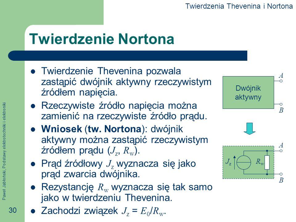 Paweł Jabłoński, Podstawy elektrotechniki i elektroniki 30 Twierdzenie Nortona Twierdzenie Thevenina pozwala zastąpić dwójnik aktywny rzeczywistym źró