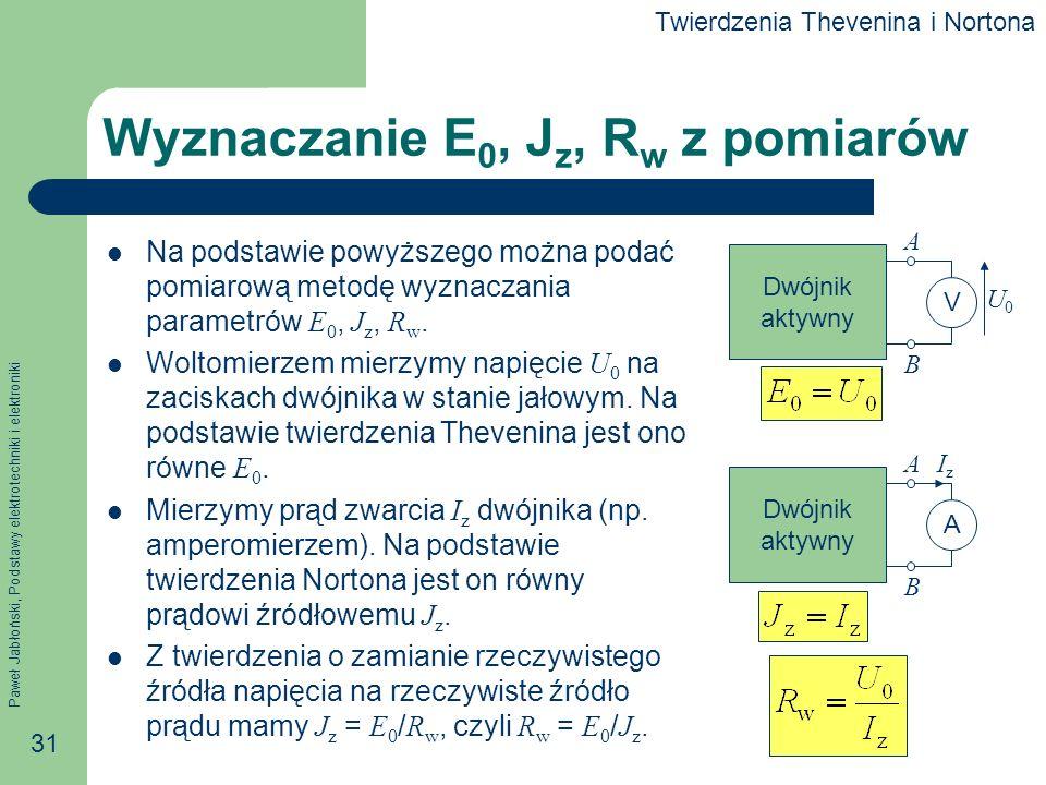Paweł Jabłoński, Podstawy elektrotechniki i elektroniki 31 Wyznaczanie E 0, J z, R w z pomiarów Na podstawie powyższego można podać pomiarową metodę w