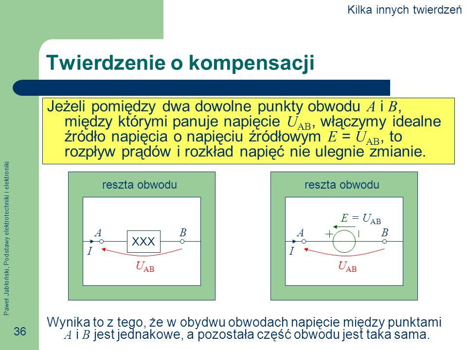 Paweł Jabłoński, Podstawy elektrotechniki i elektroniki 36 Twierdzenie o kompensacji Jeżeli pomiędzy dwa dowolne punkty obwodu A i B, między którymi p