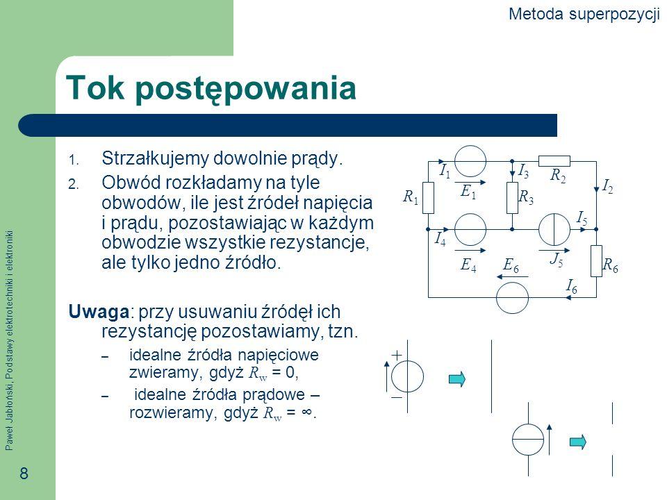 Paweł Jabłoński, Podstawy elektrotechniki i elektroniki 8 Tok postępowania 1. Strzałkujemy dowolnie prądy. 2. Obwód rozkładamy na tyle obwodów, ile je