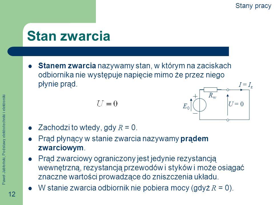 Paweł Jabłoński, Podstawy elektrotechniki i elektroniki 12 Stan zwarcia Stanem zwarcia nazywamy stan, w którym na zaciskach odbiornika nie występuje n