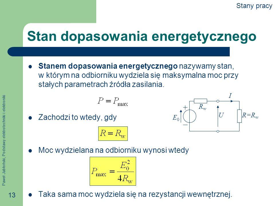 Paweł Jabłoński, Podstawy elektrotechniki i elektroniki 13 Stan dopasowania energetycznego Stanem dopasowania energetycznego nazywamy stan, w którym n