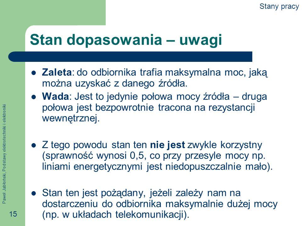 Paweł Jabłoński, Podstawy elektrotechniki i elektroniki 15 Stan dopasowania – uwagi Zaleta: do odbiornika trafia maksymalna moc, jaką można uzyskać z