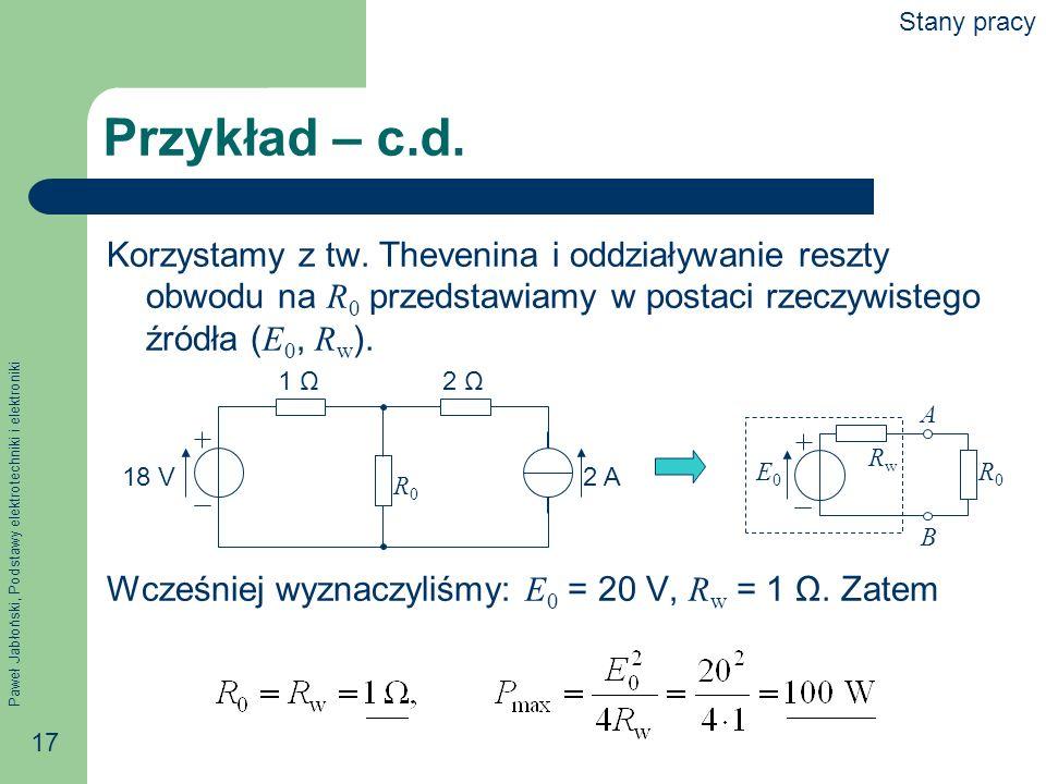 Paweł Jabłoński, Podstawy elektrotechniki i elektroniki 17 Przykład – c.d. Korzystamy z tw. Thevenina i oddziaływanie reszty obwodu na R 0 przedstawia