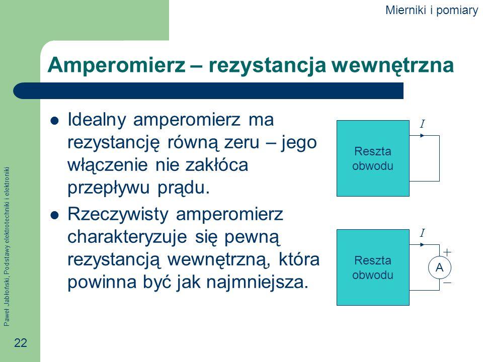 Paweł Jabłoński, Podstawy elektrotechniki i elektroniki 22 Amperomierz – rezystancja wewnętrzna Idealny amperomierz ma rezystancję równą zeru – jego w