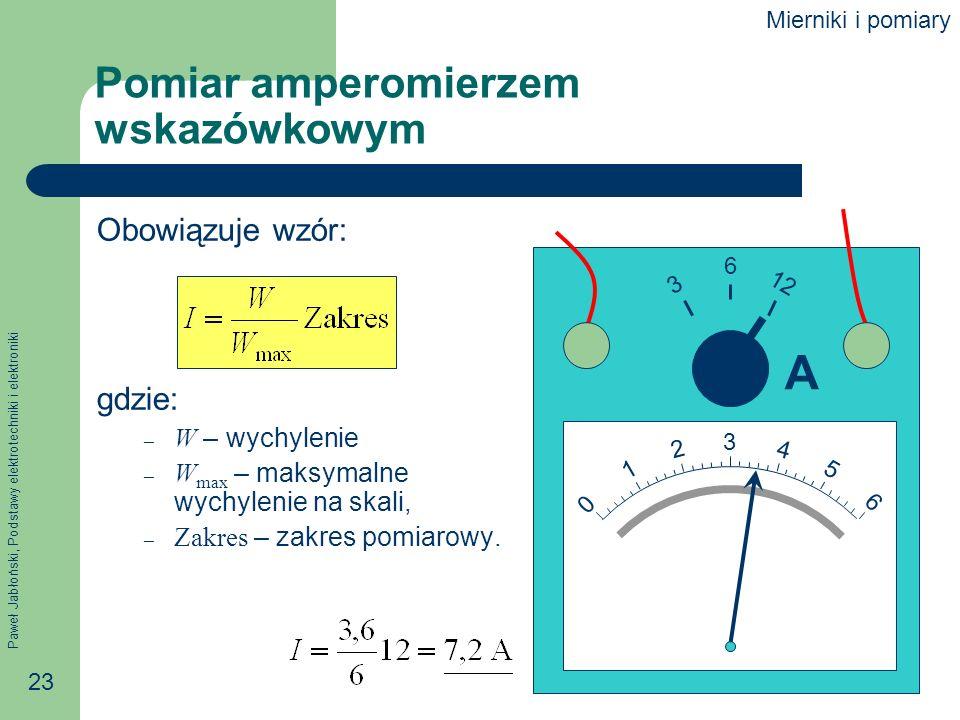 Paweł Jabłoński, Podstawy elektrotechniki i elektroniki 23 Pomiar amperomierzem wskazówkowym Obowiązuje wzór: gdzie: – W – wychylenie – W max – maksym
