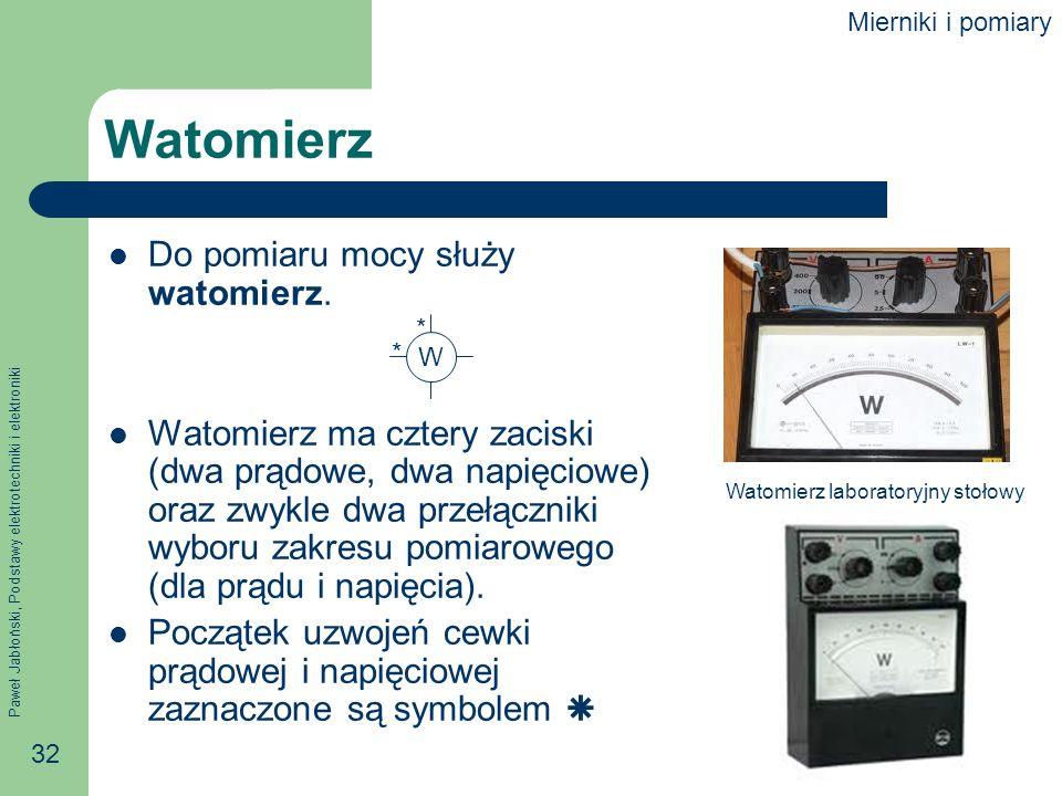 Paweł Jabłoński, Podstawy elektrotechniki i elektroniki 32 Watomierz Do pomiaru mocy służy watomierz. Watomierz ma cztery zaciski (dwa prądowe, dwa na