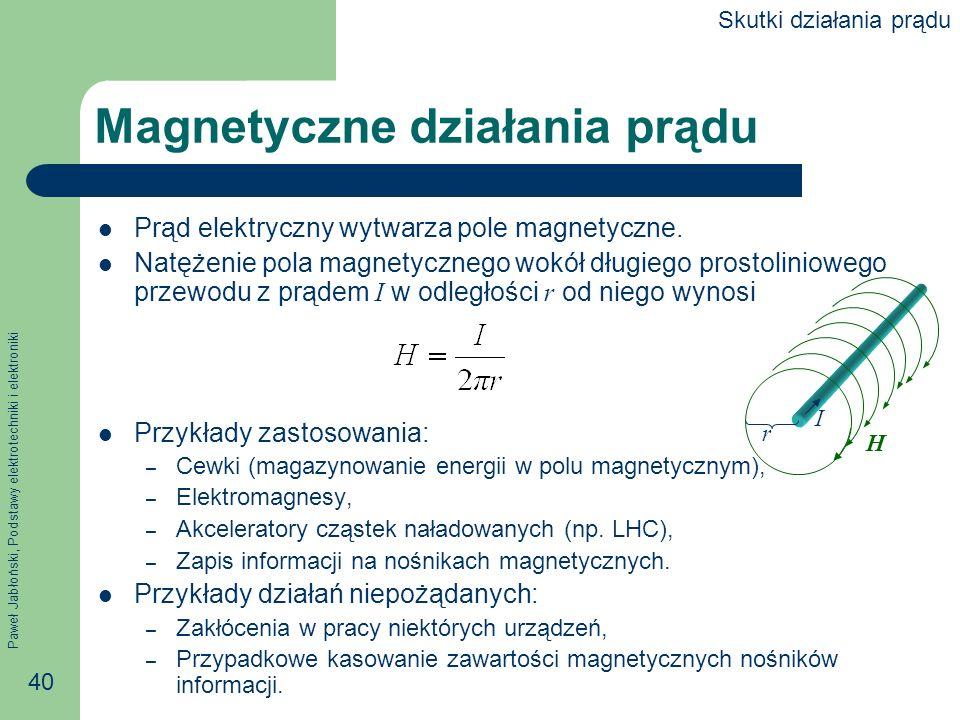 Paweł Jabłoński, Podstawy elektrotechniki i elektroniki 40 Magnetyczne działania prądu Prąd elektryczny wytwarza pole magnetyczne. Natężenie pola magn