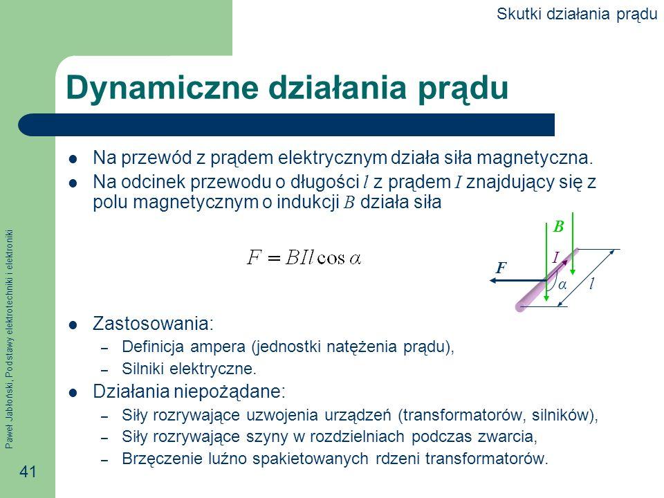 Paweł Jabłoński, Podstawy elektrotechniki i elektroniki 41 Dynamiczne działania prądu Na przewód z prądem elektrycznym działa siła magnetyczna. Na odc