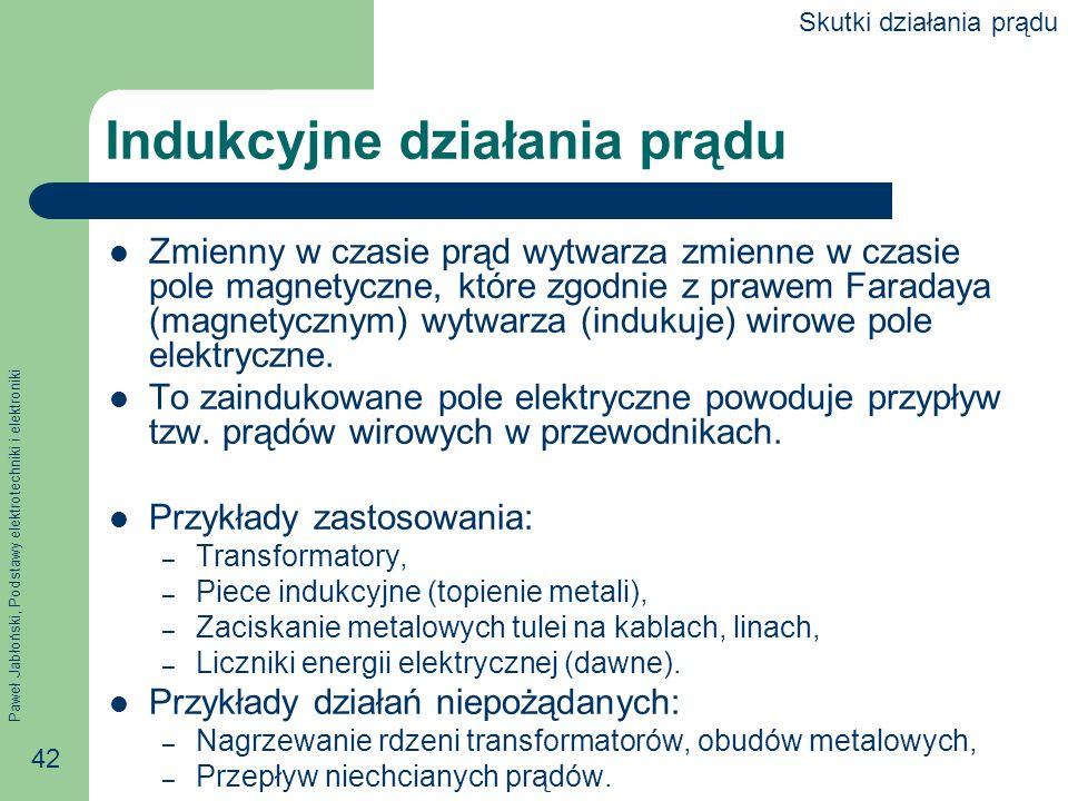 Paweł Jabłoński, Podstawy elektrotechniki i elektroniki 42 Indukcyjne działania prądu Zmienny w czasie prąd wytwarza zmienne w czasie pole magnetyczne