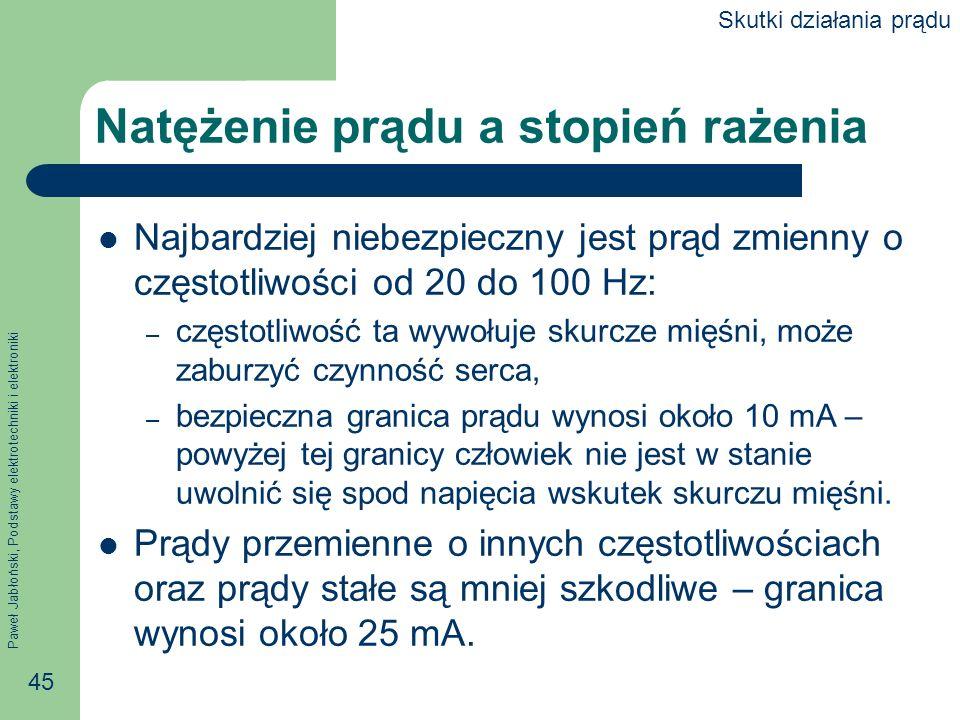 Paweł Jabłoński, Podstawy elektrotechniki i elektroniki 45 Natężenie prądu a stopień rażenia Najbardziej niebezpieczny jest prąd zmienny o częstotliwo