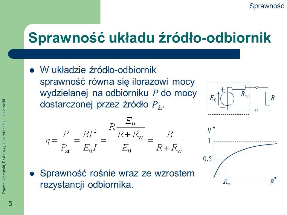 Paweł Jabłoński, Podstawy elektrotechniki i elektroniki 5 Sprawność układu źródło-odbiornik W układzie źródło-odbiornik sprawność równa się ilorazowi