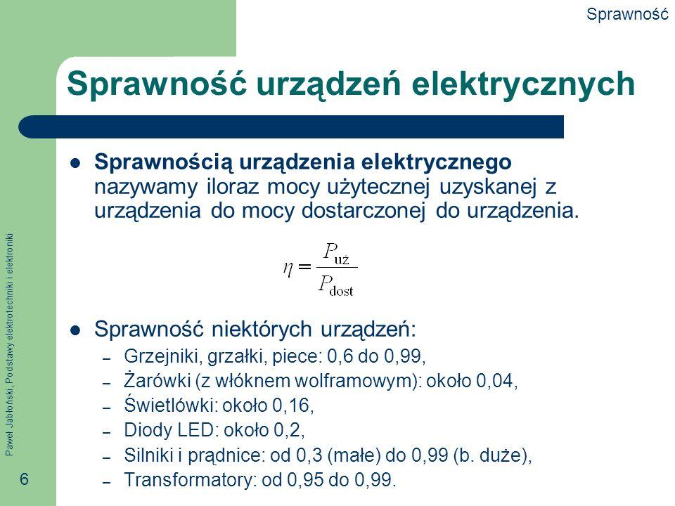 Paweł Jabłoński, Podstawy elektrotechniki i elektroniki 6 Sprawność urządzeń elektrycznych Sprawnością urządzenia elektrycznego nazywamy iloraz mocy u