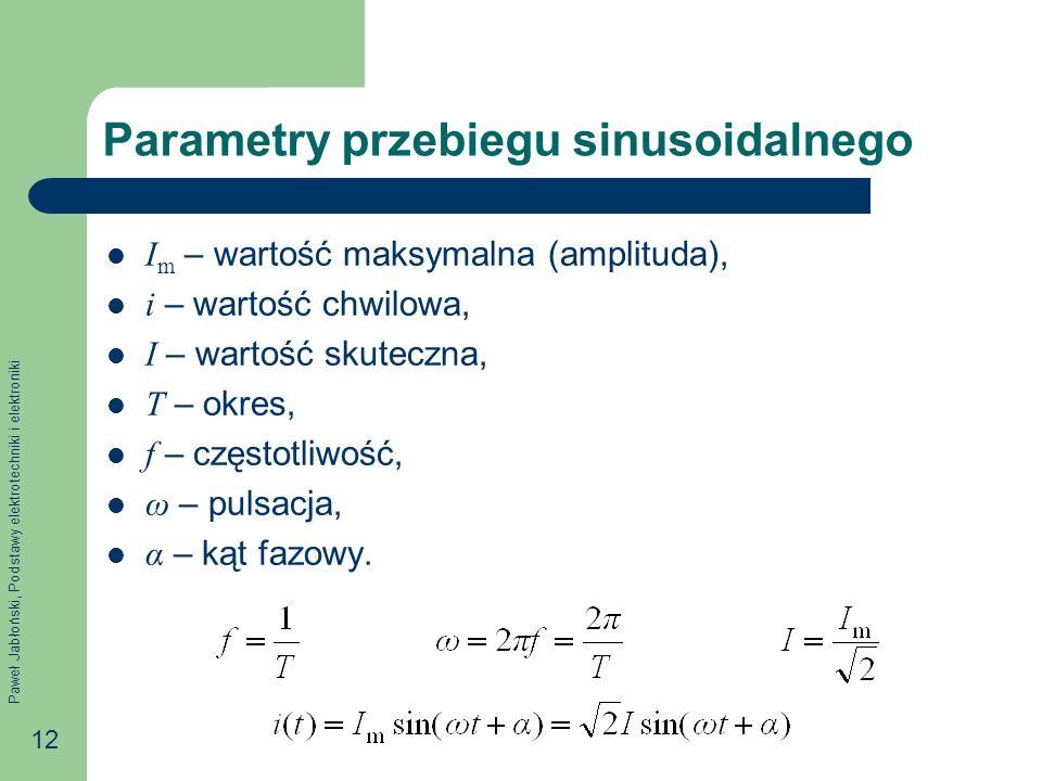 Paweł Jabłoński, Podstawy elektrotechniki i elektroniki 12 Parametry przebiegu sinusoidalnego I m – wartość maksymalna (amplituda), i – wartość chwilo