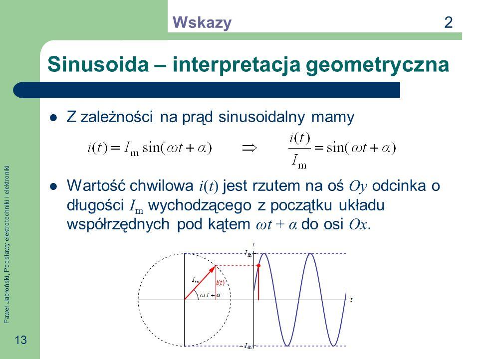 Paweł Jabłoński, Podstawy elektrotechniki i elektroniki 13 Sinusoida – interpretacja geometryczna Z zależności na prąd sinusoidalny mamy Wartość chwil