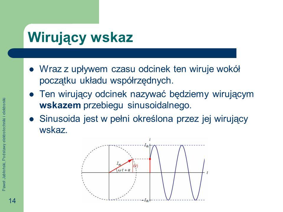 Paweł Jabłoński, Podstawy elektrotechniki i elektroniki 14 Wirujący wskaz Wraz z upływem czasu odcinek ten wiruje wokół początku układu współrzędnych.