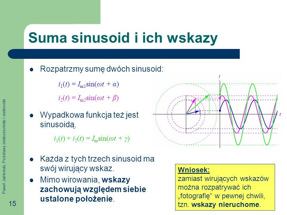 Paweł Jabłoński, Podstawy elektrotechniki i elektroniki 15 Suma sinusoid i ich wskazy Rozpatrzmy sumę dwóch sinusoid: Wypadkowa funkcja też jest sinus