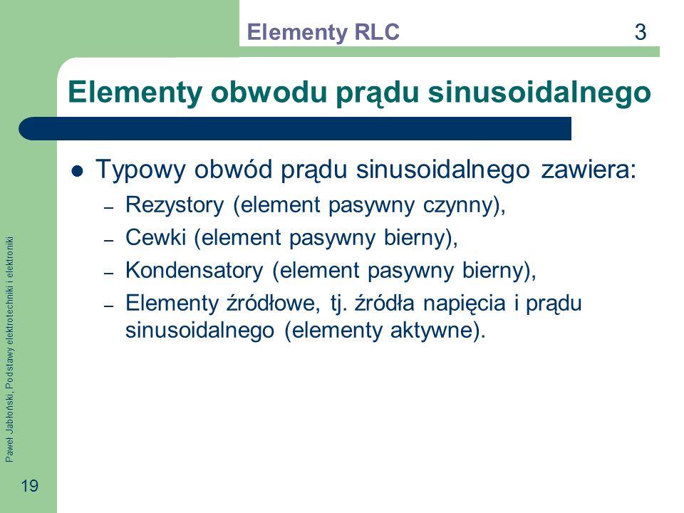 Paweł Jabłoński, Podstawy elektrotechniki i elektroniki 19 Elementy obwodu prądu sinusoidalnego Typowy obwód prądu sinusoidalnego zawiera: – Rezystory