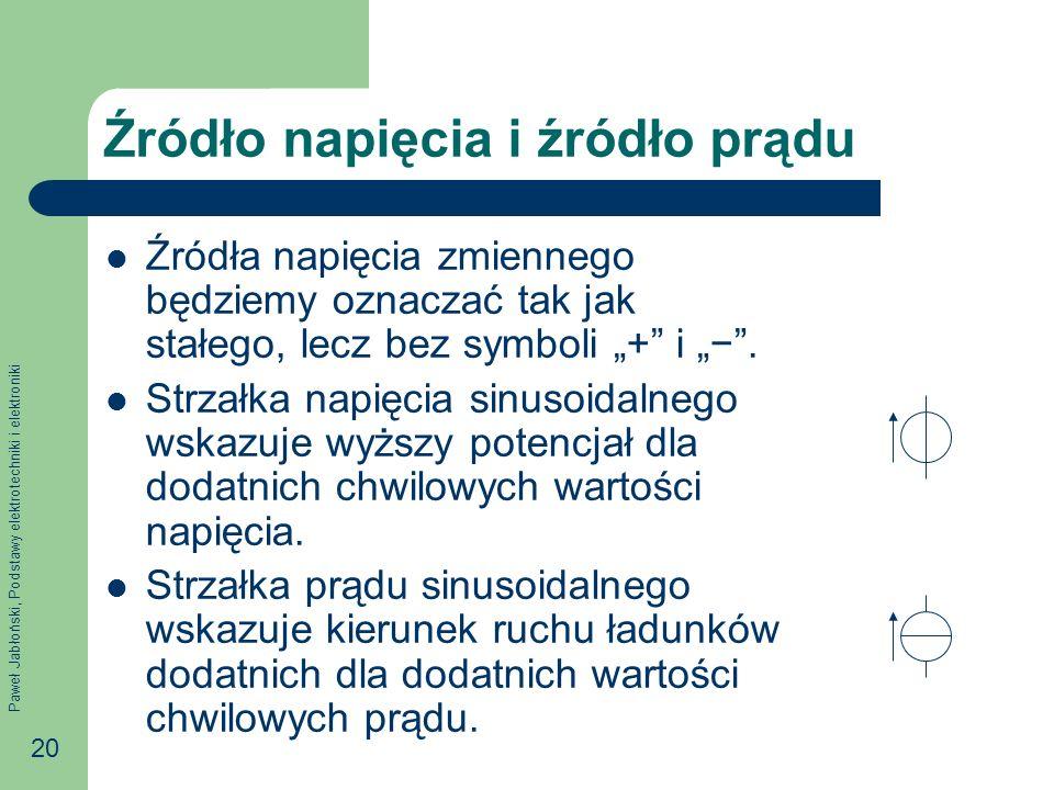 Paweł Jabłoński, Podstawy elektrotechniki i elektroniki 20 Źródło napięcia i źródło prądu Źródła napięcia zmiennego będziemy oznaczać tak jak stałego,
