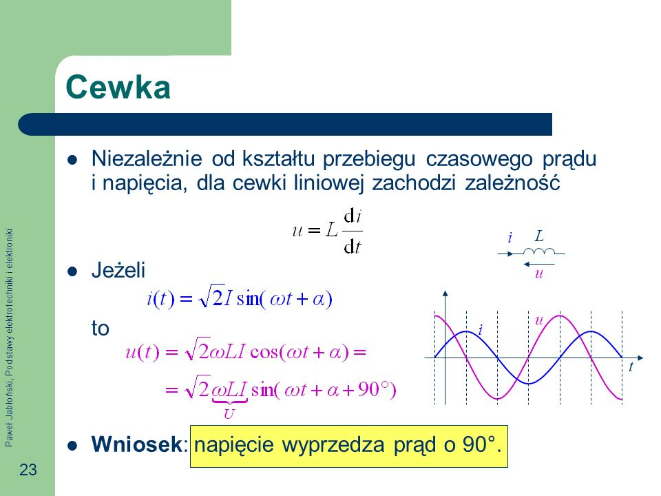 Paweł Jabłoński, Podstawy elektrotechniki i elektroniki 23 Cewka Niezależnie od kształtu przebiegu czasowego prądu i napięcia, dla cewki liniowej zach
