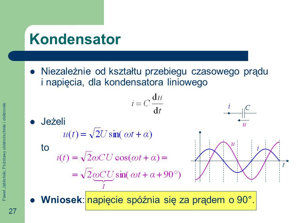 Paweł Jabłoński, Podstawy elektrotechniki i elektroniki 27 Kondensator Niezależnie od kształtu przebiegu czasowego prądu i napięcia, dla kondensatora
