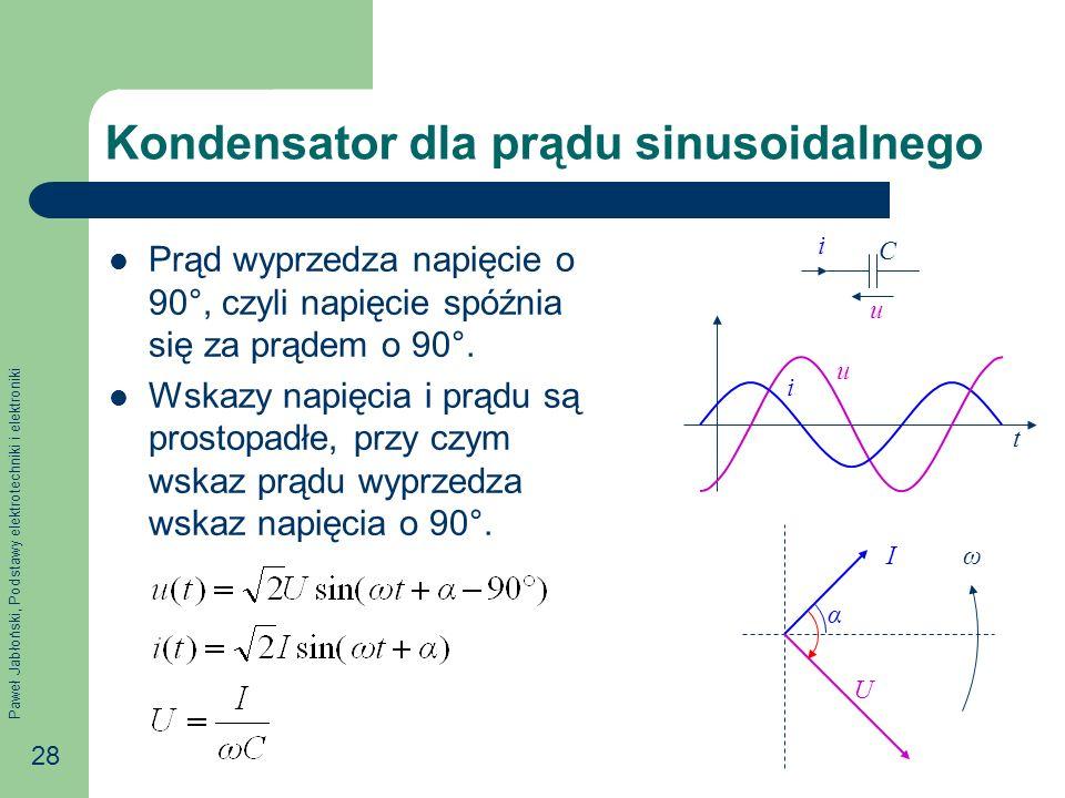 Paweł Jabłoński, Podstawy elektrotechniki i elektroniki 28 Kondensator dla prądu sinusoidalnego Prąd wyprzedza napięcie o 90°, czyli napięcie spóźnia