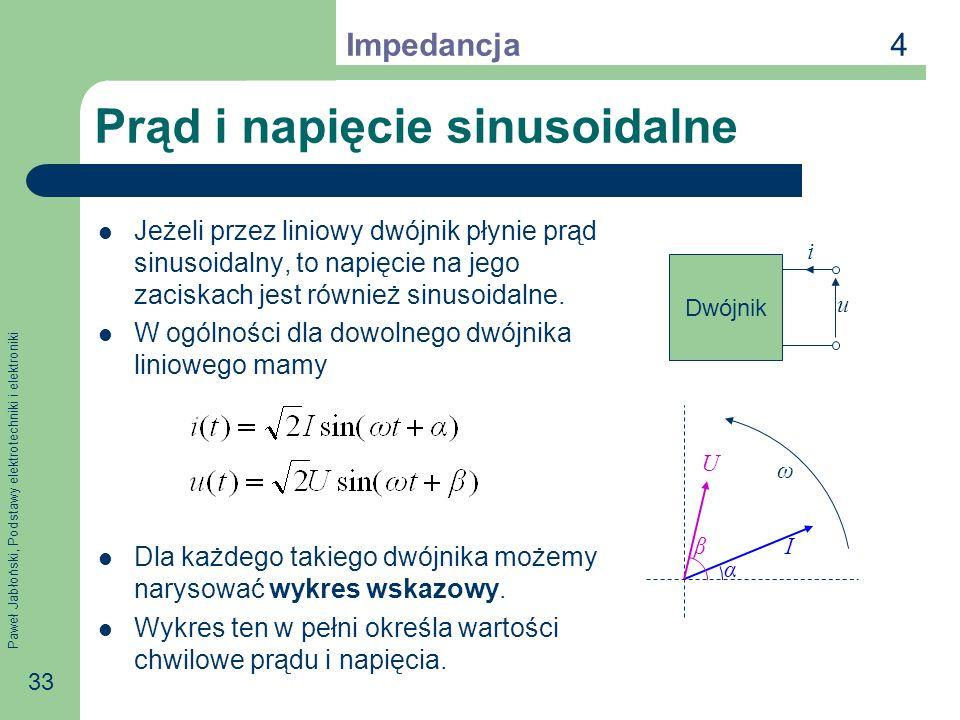 Paweł Jabłoński, Podstawy elektrotechniki i elektroniki 33 Prąd i napięcie sinusoidalne Jeżeli przez liniowy dwójnik płynie prąd sinusoidalny, to napi