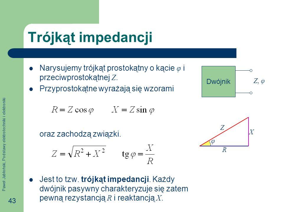 Paweł Jabłoński, Podstawy elektrotechniki i elektroniki 43 Trójkąt impedancji Narysujemy trójkąt prostokątny o kącie φ i przeciwprostokątnej Z. Przypr