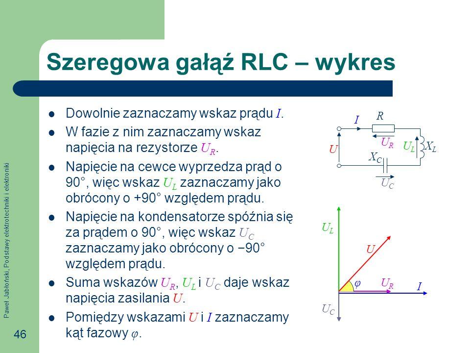 Paweł Jabłoński, Podstawy elektrotechniki i elektroniki 46 U I URUR ULUL R XLXL UCUC XCXC Szeregowa gałąź RLC – wykres Dowolnie zaznaczamy wskaz prądu
