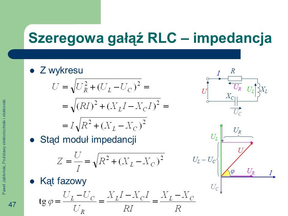Paweł Jabłoński, Podstawy elektrotechniki i elektroniki 47 Szeregowa gałąź RLC – impedancja Z wykresu Stąd moduł impedancji Kąt fazowy U I URUR ULUL R