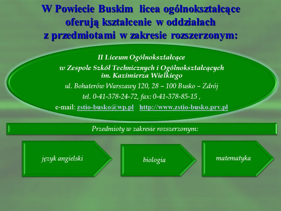 W Powiecie Buskim licea ogólnokształcące oferują kształcenie w oddziałach z przedmiotami w zakresie rozszerzonym: I Liceum Ogólnokształcące im. Tadeus