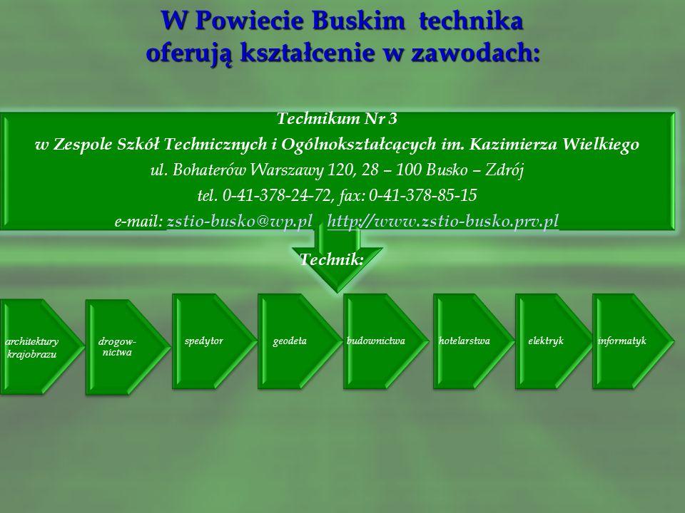 W Powiecie Buskim technika oferują kształcenie w zawodach: Technikum Nr 2 w Zespole Szkół Techniczno – Informatycznych Al. Mickiewicza 23, 28 – 100 Bu