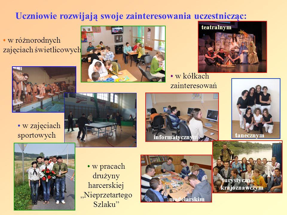 Uczniowie rozwijają swoje zainteresowania uczestnicząc: w różnorodnych zajęciach świetlicowych w kółkach zainteresowań w pracach drużyny harcerskiej N