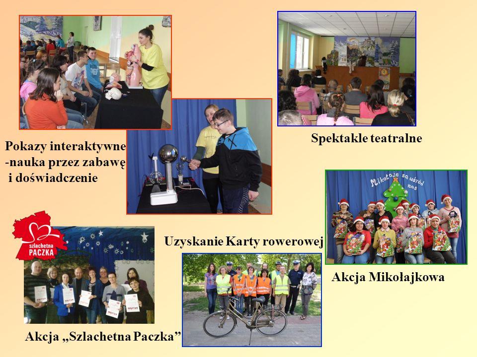Spektakle teatralne Akcja Mikołajkowa Pokazy interaktywne -nauka przez zabawę i doświadczenie Akcja Szlachetna Paczka Uzyskanie Karty rowerowej