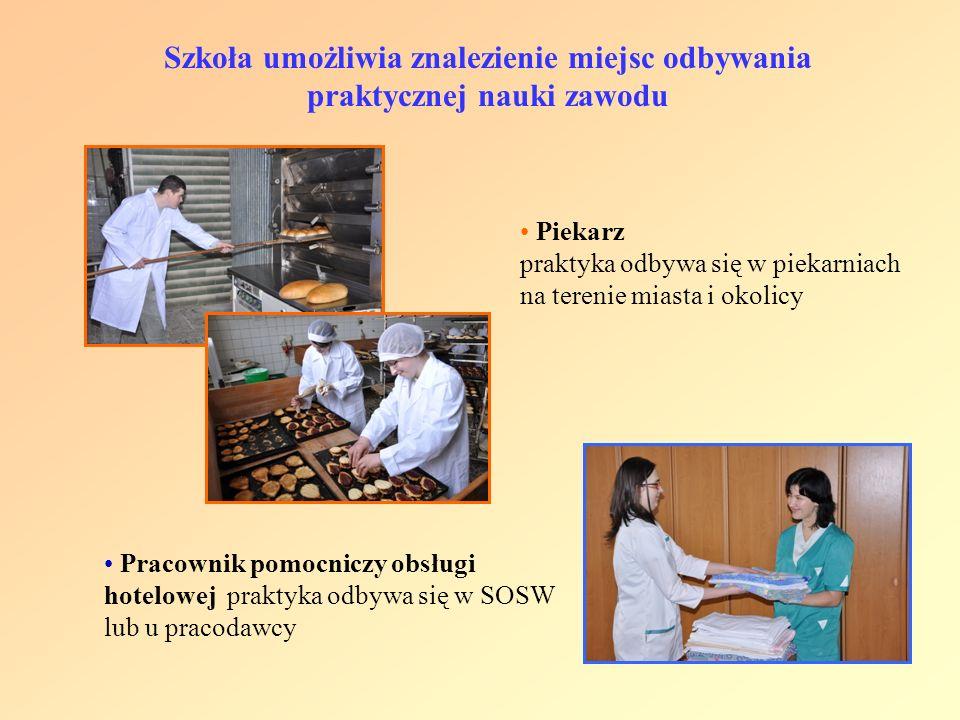 Piekarz praktyka odbywa się w piekarniach na terenie miasta i okolicy Szkoła umożliwia znalezienie miejsc odbywania praktycznej nauki zawodu Pracownik
