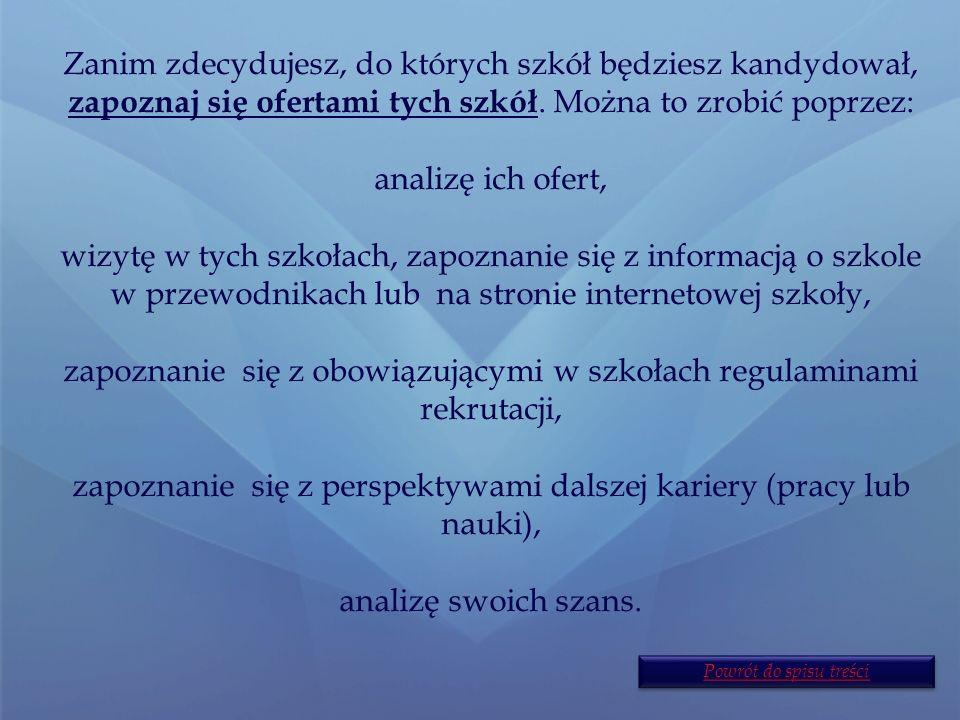 Etapy działania I. Zapoznanie się ofertami szkół.