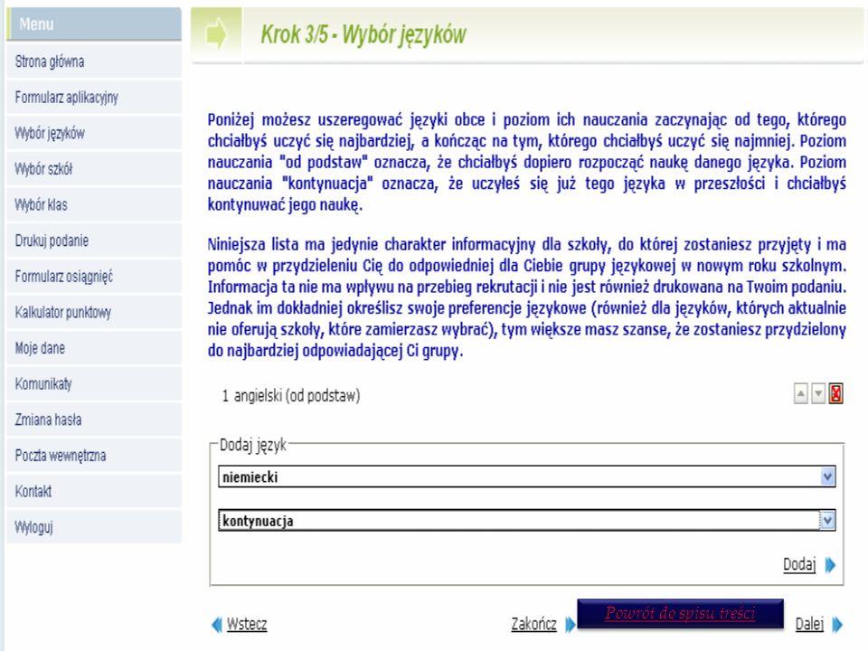 Krok 3/5 - Wybór języków W celach informacyjnych dla szkoły możesz wskazać, jakich języków obcych chciałbyś się uczyć, gdybyś mógł je wybierać dowolnie.