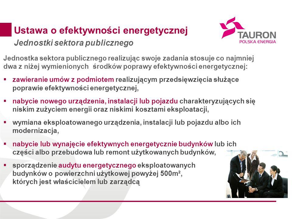 11 Ustawa o efektywności energetycznej Jednostki sektora publicznego Jednostka sektora publicznego realizując swoje zadania stosuje co najmniej dwa z