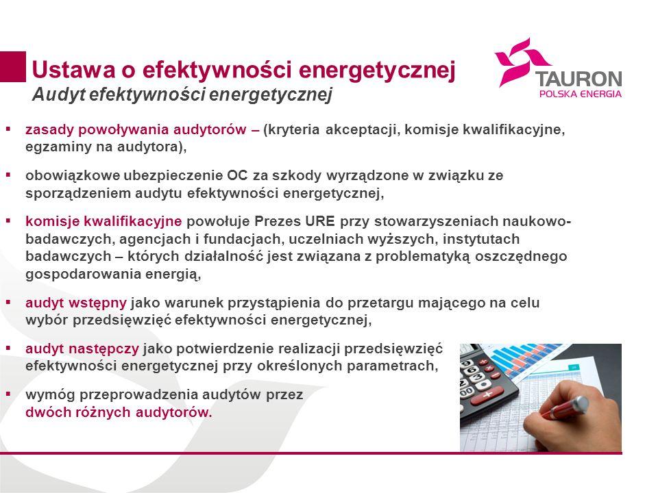 14 Ustawa o efektywności energetycznej Audyt efektywności energetycznej zasady powoływania audytorów – (kryteria akceptacji, komisje kwalifikacyjne, e