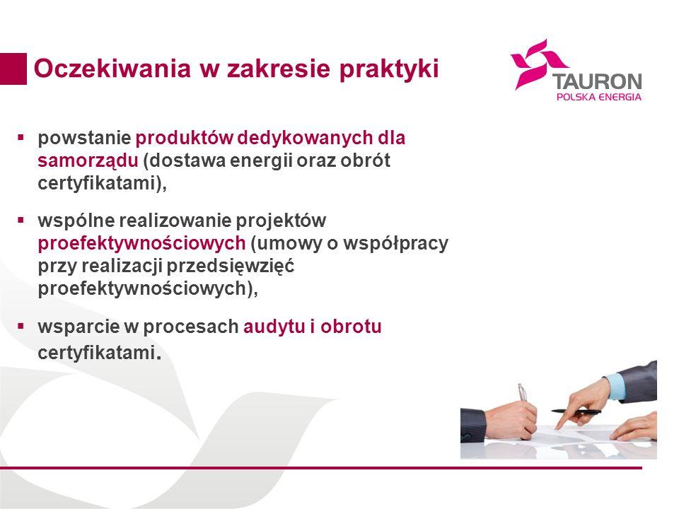 15 Oczekiwania w zakresie praktyki powstanie produktów dedykowanych dla samorządu (dostawa energii oraz obrót certyfikatami), wspólne realizowanie pro
