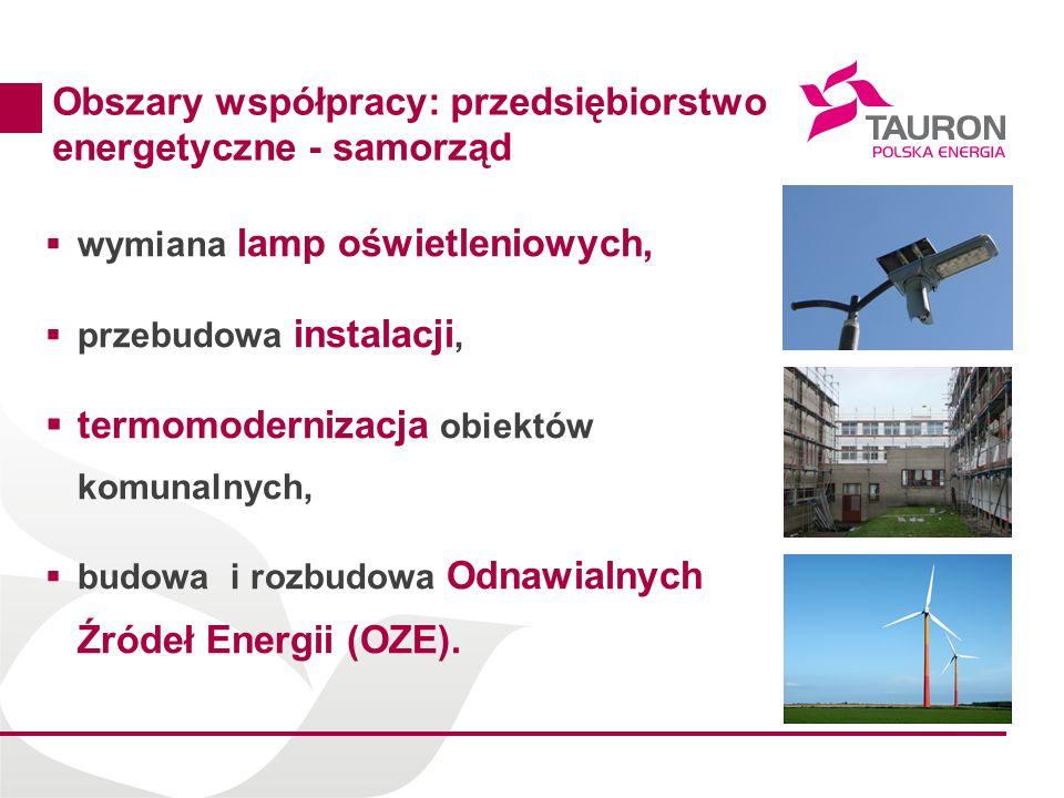 16 Obszary współpracy: przedsiębiorstwo energetyczne - samorząd wymiana lamp oświetleniowych, przebudowa instalacji, termomodernizacja obiektów komuna