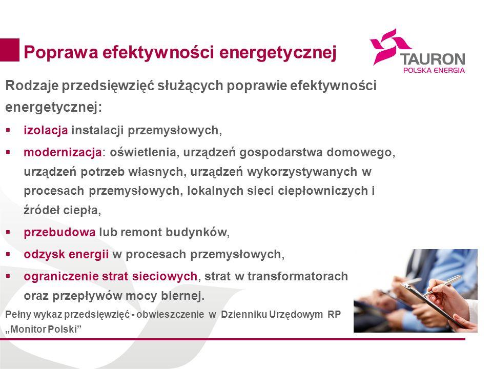 9 Poprawa efektywności energetycznej Rodzaje przedsięwzięć służących poprawie efektywności energetycznej: izolacja instalacji przemysłowych, moderniza