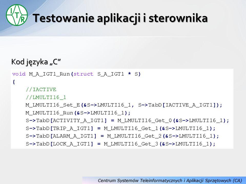 Kod języka C Testowanie aplikacji i sterownika Centrum Systemów Teleinformatycznych i Aplikacji Sprzętowych (CA)