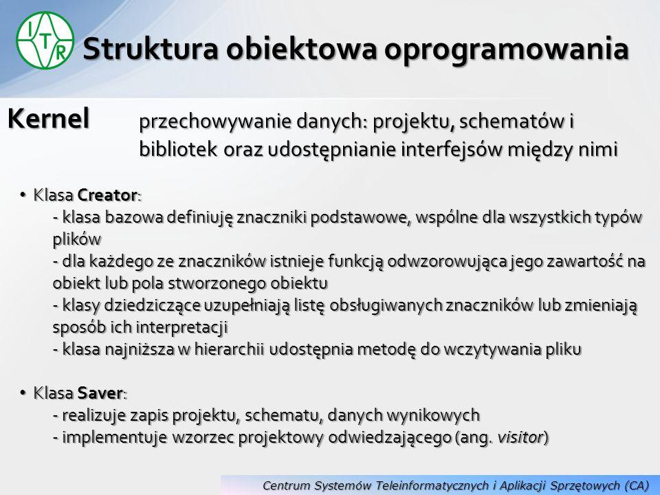 Kernel przechowywanie danych: projektu, schematów i bibliotek oraz udostępnianie interfejsów między nimi Struktura obiektowa oprogramowania Klasa Crea